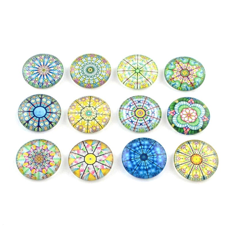 Mixed rosace glass cabochons - set of 20 round dome cabochons - 12mm