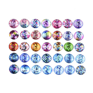 Mixed glitter mermaid glass cabochons - set of 35 round dome cabochons - 12mm
