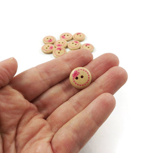 10 wood painted sewing buttons - pink bow 15mm