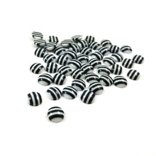 Load image into Gallery viewer, 7-8mm white and black round resin cabochons - set of 50 cabochons