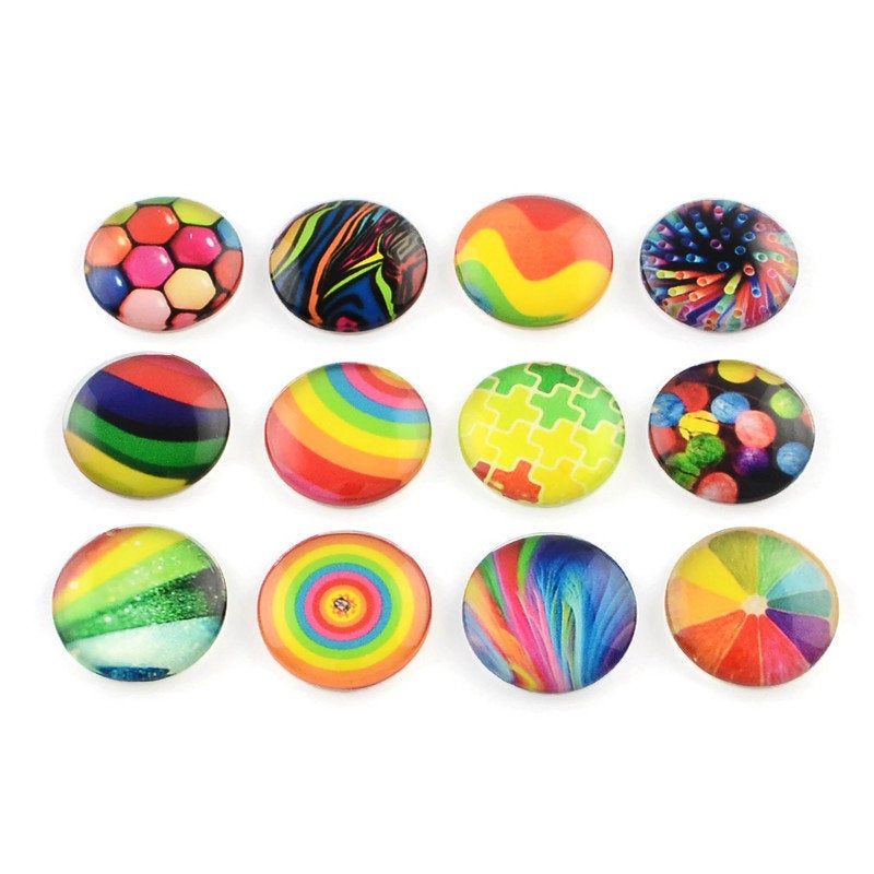 10mm mixed rainbow glass cabochons - set of 50 geometric pattern round dome cabochons