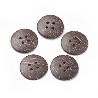 5 Brown coconut big buttons 30mm - Natural 4 holes wood buttons