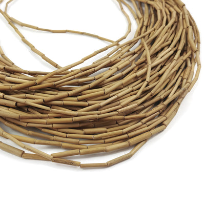 "Bamboo Wood Tube Beads - Agsam Vine Beige Tube Beads 15mm - 28"" strand"
