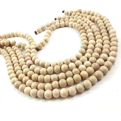 Whitewood 4, 6 or 8mm wood round beads 16 inch strand
