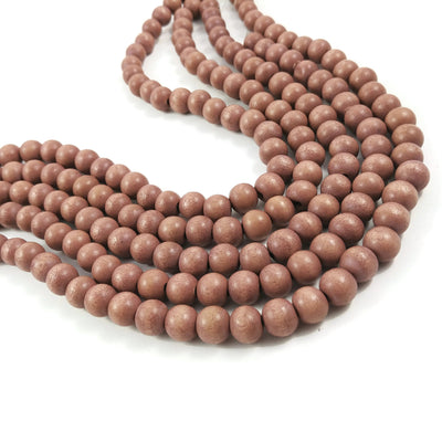 6 or 8mm Wood round beads - Beige