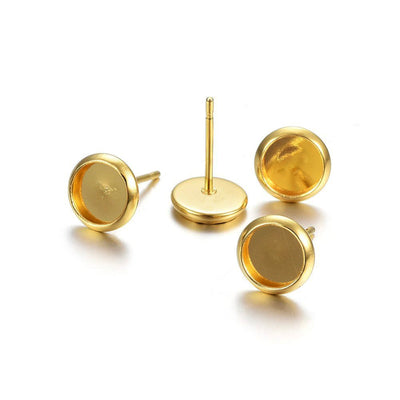 10 Gold stainless steel ear stud cabochon settings - fits 6, 8, 10 or 12mm cabochons