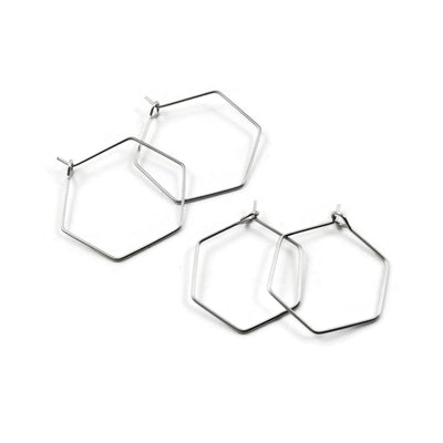 Stainless steel hexagon hoops 10pcs (5 pairs) - 2 size available