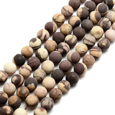 Natural Zebra Jasper Stone Frosted Beads Strands 6mm Round