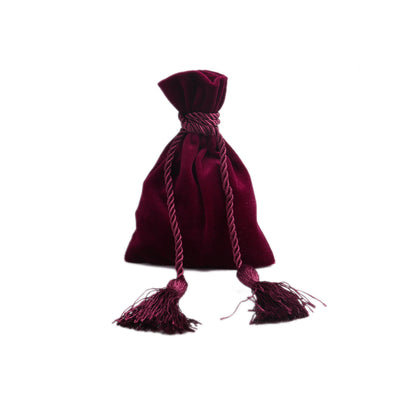 Wine red velvet pouch bag with tassel rope
