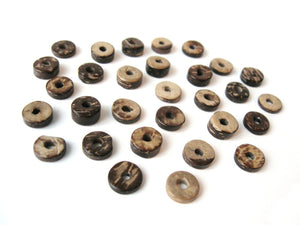 Coconut Bead - 100 Eco Friendly Donuts Rondelle Disk Beads 9mm