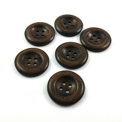 Dark brown wooden buttons 35mm - set of 6 natural sewing wood buttons