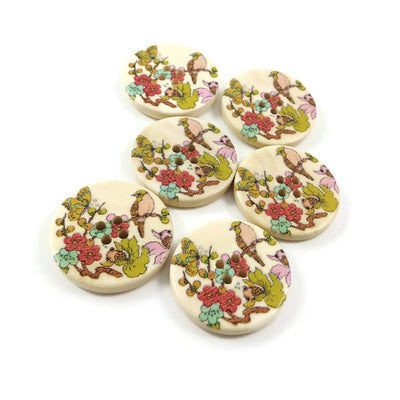 Bird and Foliage Pattern Wooden Sewing Button 30mm - set of 6 wood buttons