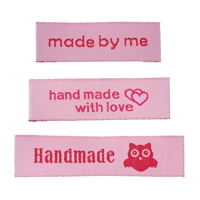 10 Pink woven printed sewing labels - different styles for choice