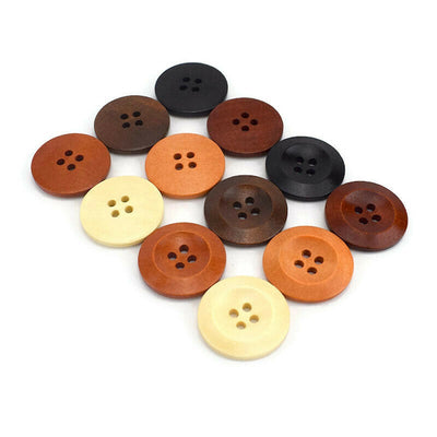 Wooden Sewing Buttons 28mm - set of 6 natural wood button - 6 colors available