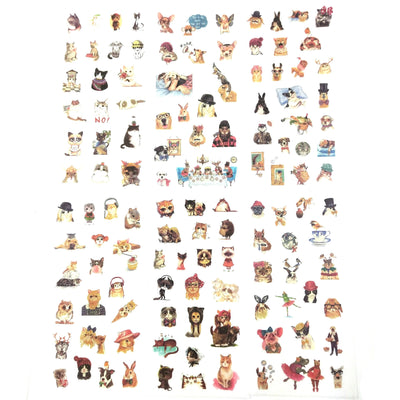 Cat, dog and more sticker pack - 6 sheets of cute stickers