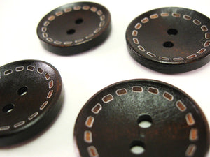 4 Dark Brown wood button with dotted Line 25mm