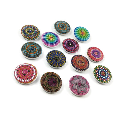 Boho wood sewing buttons - 12 Mixed Patterns craft buttons 20mm