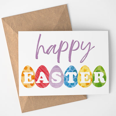 HAPPY EASTER greeting card - Printable instant download Easter eggs card