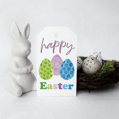HAPPY EASTER gift tag - Printable instant download Easter eggs hang tag