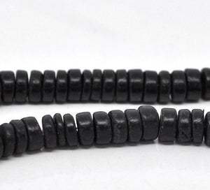 Black Coco wood Beads - Eco Friendly Donuts Rondelle Disk Beads 8mm - 100pcs