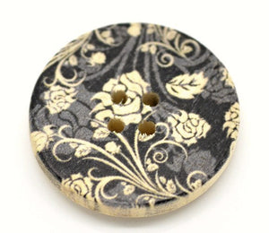 Black and Grey Flower Pattern Wooden Painting Buttons 3cm - Natural wood flowers color set of 6