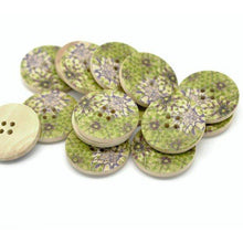 Load image into Gallery viewer, Green and Plum Wooden Buttons 30mm - Natural wood flowers pattern painting set of 6