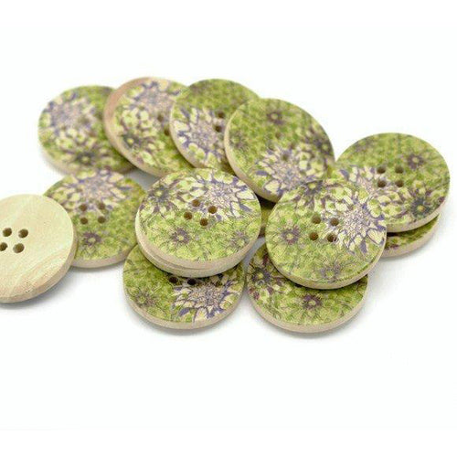 Green and Plum Wooden Buttons 30mm - Natural wood flowers pattern painting set of 6