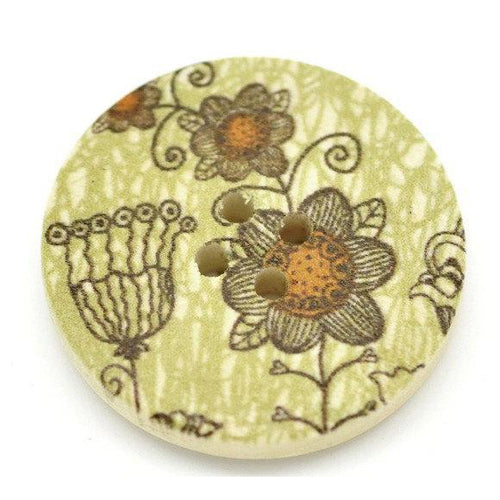 Khaki and Pumkin Wooden Buttons 30mm - Natural wood flowers pattern painting sewing button set of 6