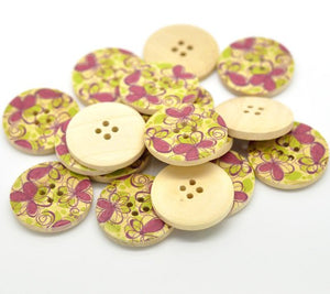 Fushia Pink and Green Flower Pattern Wood Sewing Buttons 30mm - Natural wooden button set of 6