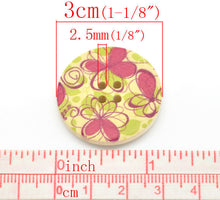 Load image into Gallery viewer, Fushia Pink and Green Flower Pattern Wood Sewing Buttons 30mm - Natural wooden button set of 6