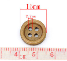 Load image into Gallery viewer, Wood button - Brown 4 Holes Wooden Sewing Buttons 15mm - set of 15
