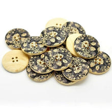 Load image into Gallery viewer, Black and Grey Flower Pattern Wooden Painting Buttons 3cm - Natural wood flowers color set of 6