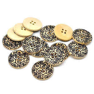 Swirl Pattern Wooden Sewing Buttons 30mm - Natural and Black wood button set of 6