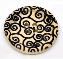 Load image into Gallery viewer, Swirl Pattern Wooden Sewing Buttons 30mm - Natural and Black wood button set of 6