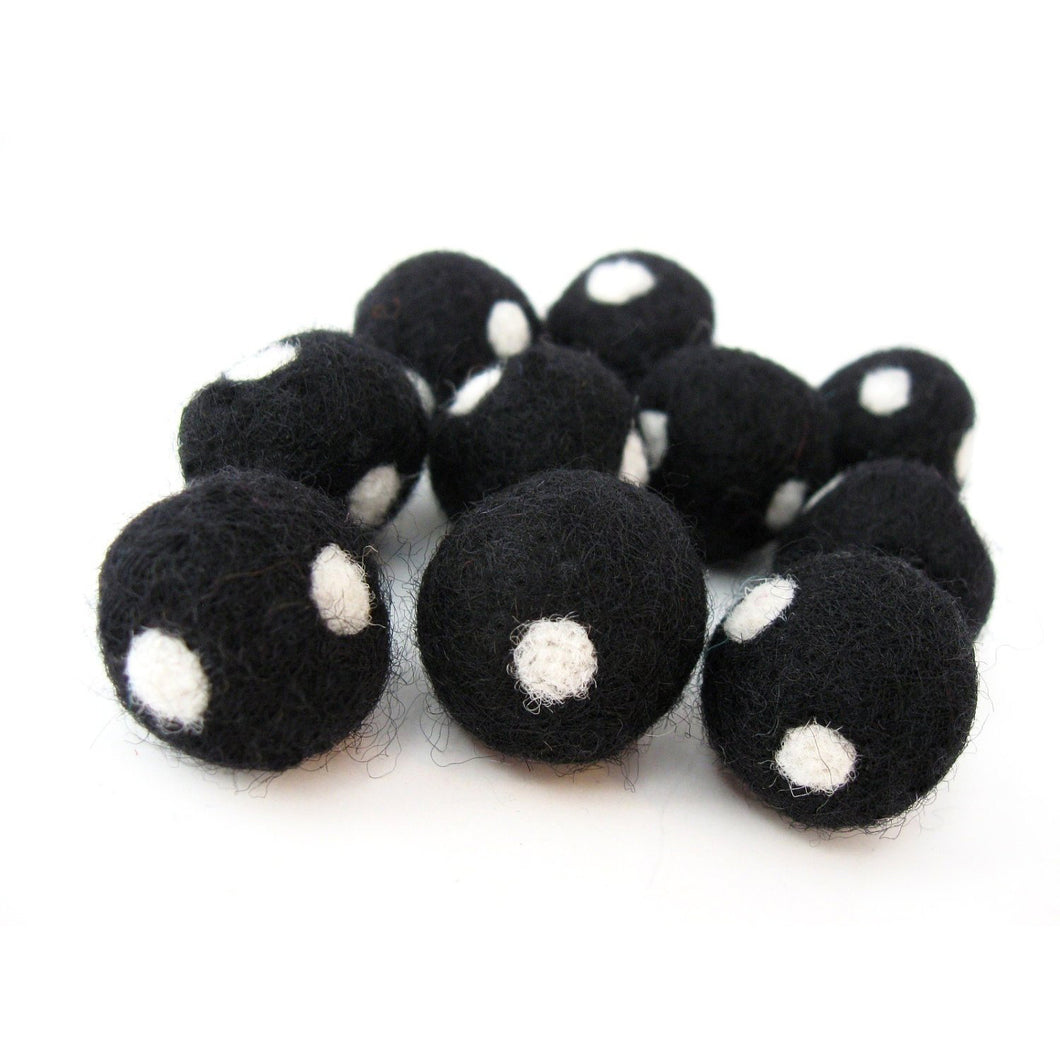 Felt Balls Black and White - 10 Pure Wool Beads 20mm - Dots -