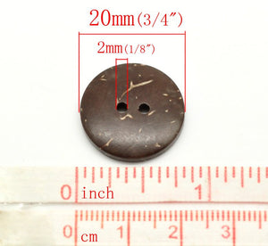 Brown Coconut Shell Buttons 20mm - Natural and Eco Friendly