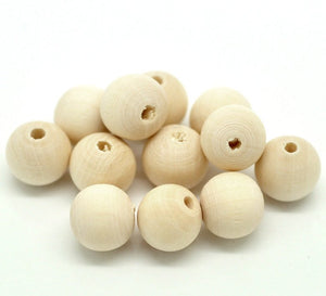 Unfinished wood beads 12mm Natural wood beads round 30pcs
