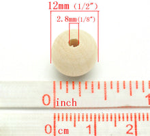 Load image into Gallery viewer, Unfinished wood beads 12mm Natural wood beads round 30pcs