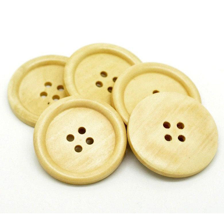 Natural wooden buttons - 3 Off white big wooden buttons 40mm (1 5/8