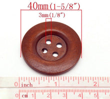 "Load image into Gallery viewer, Large reddish brown button - 3 wooden buttons 40mm (1 5/8"")"