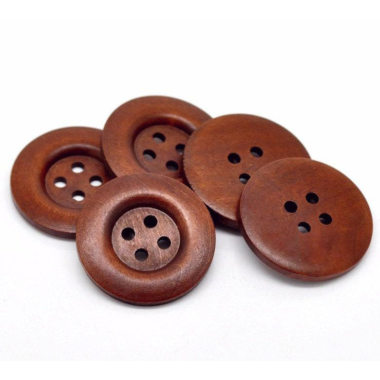 Large reddish brown button - 3 wooden buttons 40mm (1 5/8