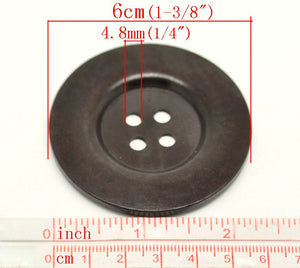 "Extra large big button - 2 dark brown giant wooden buttons 60mm (2 3/8"")"