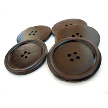 "Load image into Gallery viewer, Large wood button in dark brown 2"" set of 3"