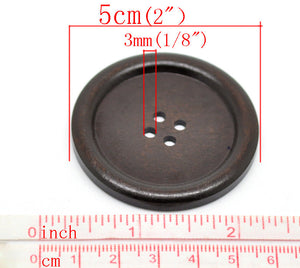 "Large wood button in dark brown 2"" set of 3"