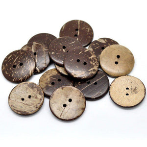 10 Brown Coconut Shell Buttons 23mm - Natural and Eco Friendly