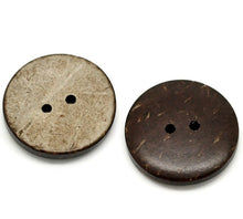 Load image into Gallery viewer, 10 Brown Coconut Shell Buttons 23mm - Natural and Eco Friendly