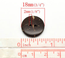 Load image into Gallery viewer, 12 Brown Coconut Shell Buttons 18mm - Natural and Eco Friendly