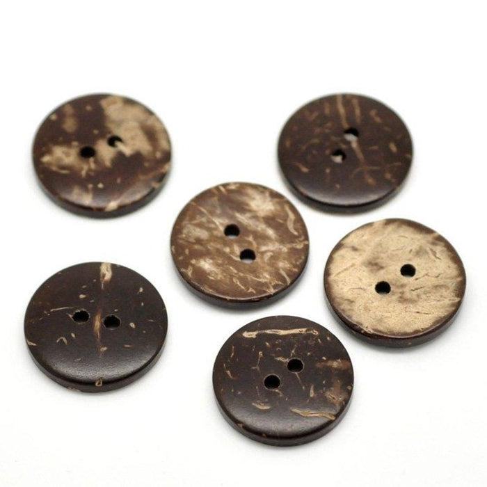 12 Brown Coconut Shell Buttons 18mm - Natural and Eco Friendly