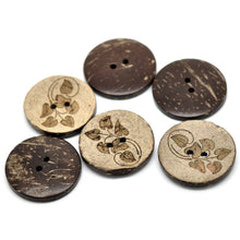 Load image into Gallery viewer, 6 Brown Leaf pattern Coconut Shell Buttons 28mm - Natural and Eco Friendly round sewing button