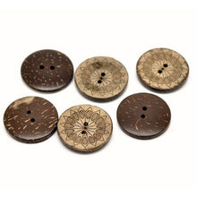 Load image into Gallery viewer, 6 sunflower pattern Coconut Shell Buttons 28mm - Natural and Eco Friendly round sewing button